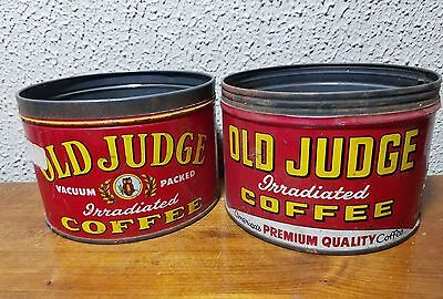 2 VINTAGE OLD JUDGE COFFEE CAN 1lb Key coffee cans owl steel tin kitchen decor