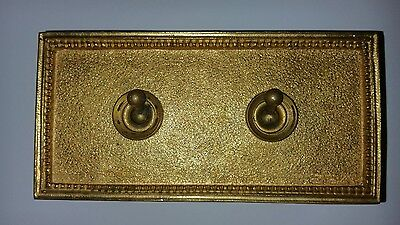 Vintage Brass Light Switch Double Plate Ceramic Art Deco Old Antique Crabtree