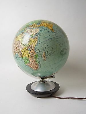 Vintage Illuminated World Globe Thick Glass Lamp Desk Light Bauhaus Design 9""