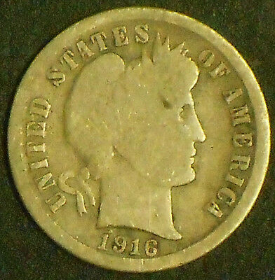 1916-P Barber Dime. Free Shipping!!!!!!!!!!!!