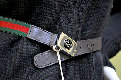 GUCCI kids girls red green web leather belt size size small