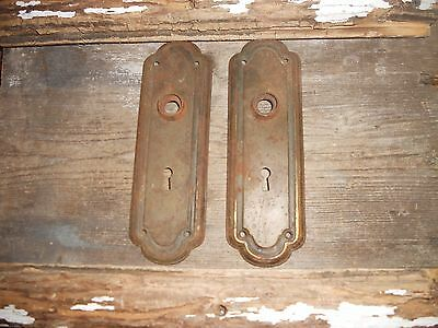 Vtg Old Arched Raised Edge Aged Patina Shabby Steampunk  Door Knob Back Plates