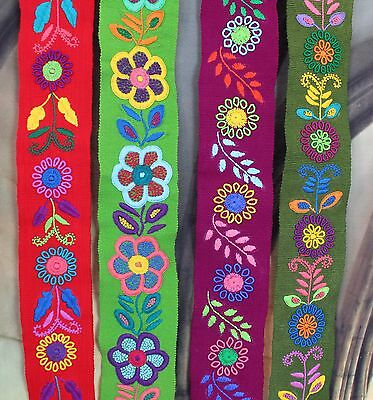 Hand Embroidered & Woven Chiapas Mexican Wrap Belts Frida Hippie Boho Peasant