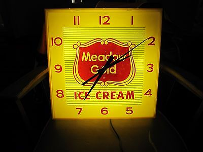 Vintage  1950s Meadow Gold  Ice Cream Clock advertising see video