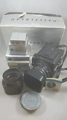 Hasselblad 500C/M Film Camera with 80mm Lens, Prism Finder, Box and More!