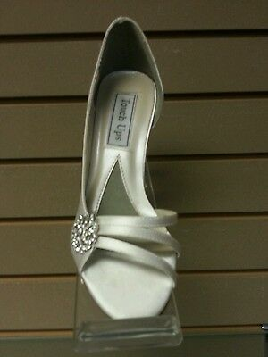 Touch Ups White Satin Dyeable Open Toe Pump, Bridal Shoes, Prom Shoes, Wedding !