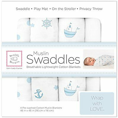 SwaddleDesigns Cotton Swaddling Blankets Muslin Swaddle Blankets, Set of 4, Blue