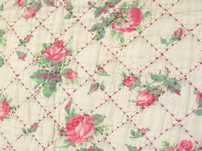 PINK ROSES Antique FRENCH Whole Cloth Quilt Pique RED Hand Stitched 70x82 LOVELY