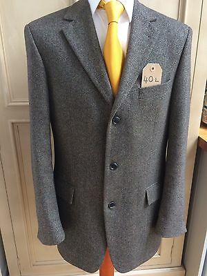 "Vintage Style Birdseye Wool Tweed Shooting/Country Jacket 40"" Green/Brown"
