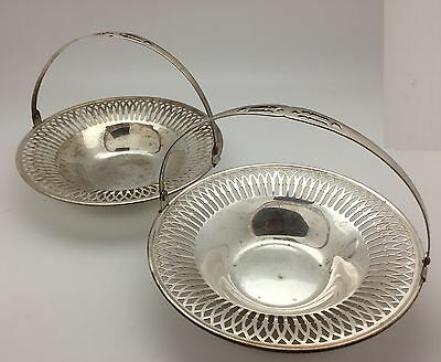 """Set of 2 Silver Filigree Candy Dish With Handle Vintage 1940's 6"""" Wide"""