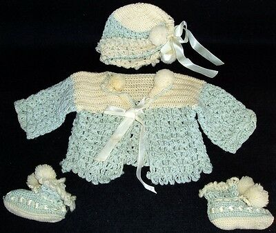 Antique Crocheted BABY SWEATER SET