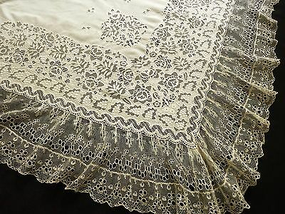 FABULOUS & RARE Antique Shawl c1840 WHITEWORK EMBROIDERY & Handmade LACE French
