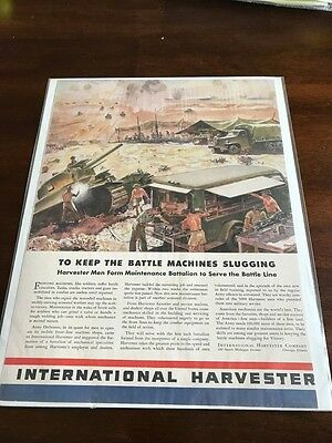 1942 VINTAGE WWII AD International Harvester MEN FORM MAINTENANCE BATTALION