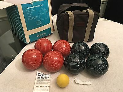 Old Vtg Bocce Ball Brookstone Set Outdoor Backyard Lawn Game Sport Leather Case