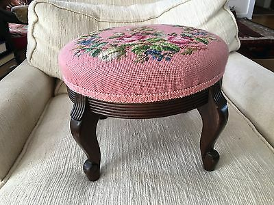 "14"" W Rarely Used Pink White Roses Needlepoint Carved Mid Century Foot Stool"