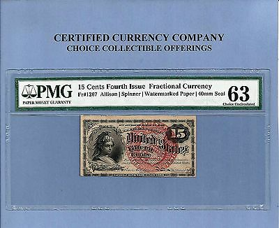 FR 1267 Fourth Issue 15 Cents Rare Issue Fractional Currency PCGS Choice Unc 63