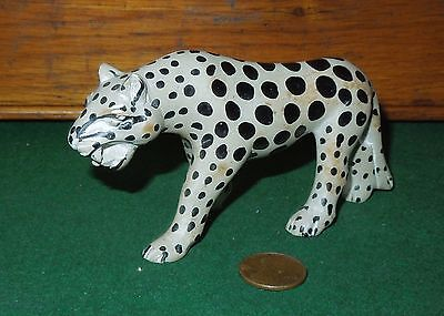 Vintage Hand Carved, Hand Painted Stone Primitive Cheetah Figurine