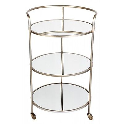 Antique silver iron frame drinks trolley with three mirrored shelves castors