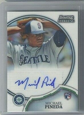 2011 Bowman Sterling Michael Pineda Rc Auto Refractor 4/199 #1 Mariners Rookie