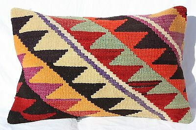 "ANTIQUE TURKISH KILIM RUG LUMBAR PILLOW CUSHION COVER HAND WOVEN WOOL 24"" x 16"""