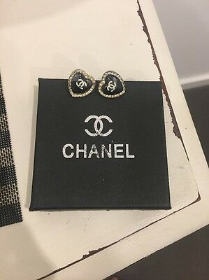 Vintage Chanel Earrings Black Color Base With White Crystal