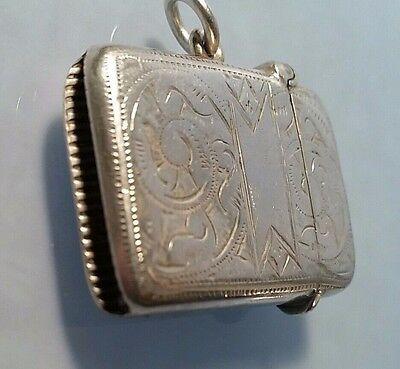 1899 Victorian solid silver vesta case  by Rose & Brough