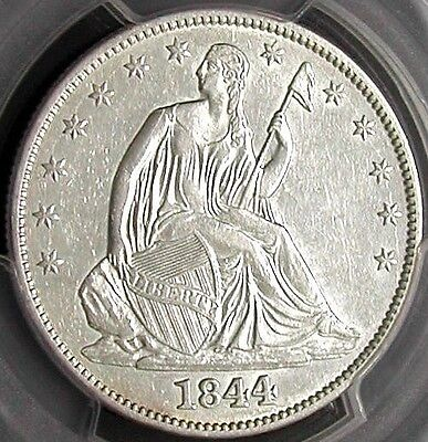 1844 Pcgs Au53 Seated Liberty Half Dollar   White / Very Clean /  Scarce Date
