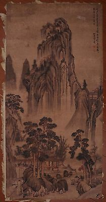 Vintage Rare Old Paper Chinese Landscape Hand Painting ShangGuanZhou Mark PP866