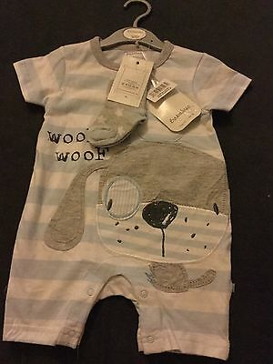BNWT Babaluno Baby BOYS 6-9m Short Summer All In One Romper With Socks.
