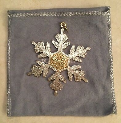 Buccellati SNOWFLAKE Christmas Ornament Pendant #291 Sterling Silver ITALY Box