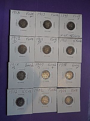 Barber Dimes (12) 1898-, 1913 GOOD-VERY FINE+