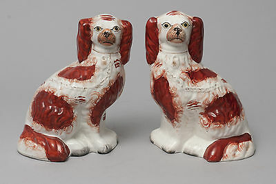 Two Antique Staffordshire Pottery Fireside Mantel Spaniel Dogs c1870