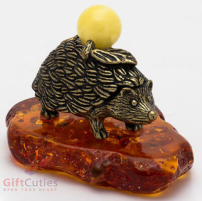 Russian Solid Brass Amber Figurine of Hedgehog w Apple Totem talisman IronWork