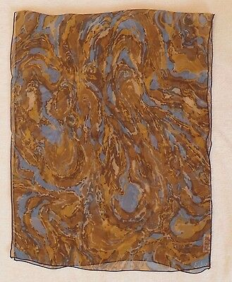 Vintage Echo silk scarf, oblong 16.5 x 40, sheer brown w/ blue abstract pattern