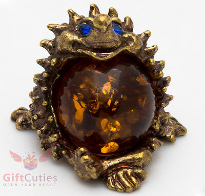Solid Brass Amber Figurine of Hedgehog with amber belly Totem talisman IronWork