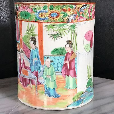 Antique Hand Painted Rose Medallion Vase/Pot c.mid 19th century,RARE PAINTING!!!