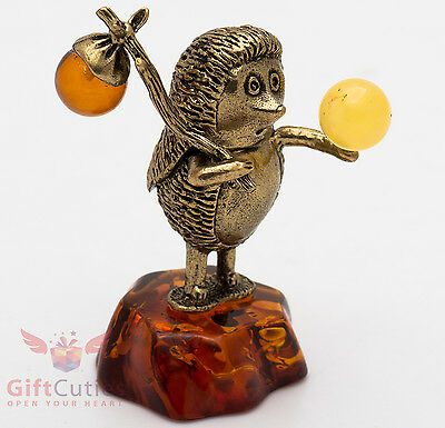 Solid Brass Amber Figurine of Hedgehog in the fog Totem talisman IronWork