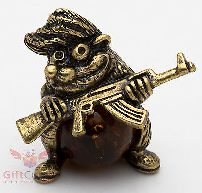 Solid Brass Amber Figurine of Hedgehog w AK47 rifle Totem talisman IronWork
