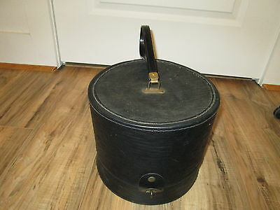 "Vintage Black Hat Wig Travel Train Case Box 13"" Tall By BagMaster Collecting Fun"