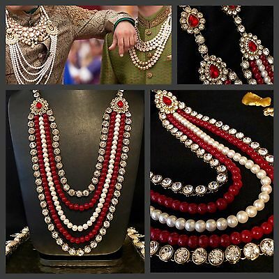 Indian Bride/Groom Attire Moti Mala Wedding Accessory Stone Kantha Pearl String
