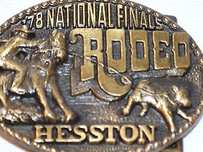 Vintage 1978 Hesston Finals Rodeo Belt Buckle Cowboy Riding Horse Calf Roping