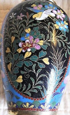 OUTSTANDING Japanese antique cloisonne vase TINY delicate wire AMAZING art RARE