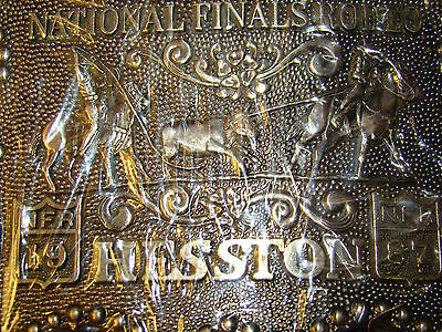 Vintage 1987 Hesston National Finals Rodeo Belt Buckle Anniversary Series Signed