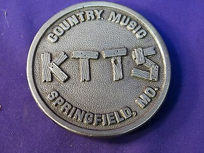 Vintage 1984 Pewter Ktts Country Music Springfield, Mo. Belt Buckle