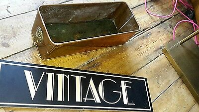 Lovely Antique Vintage Copper & Brass Planter With Lion Head Handles