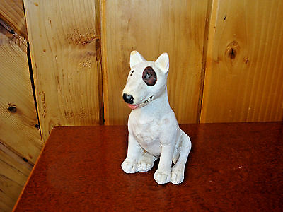 Don James American Pitbull Terrier Figurine White Pitbull w Circled Eye Signed