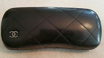 Chanel black quilted leather eye glass case