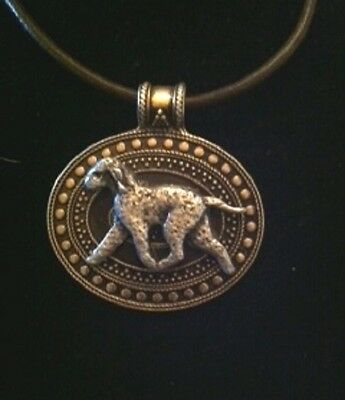 Bedlington Terrier Dog Brass Medallion/ leather cord~necklace~2 tone! AWESOME