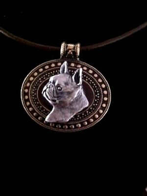 Boston Terrier Dog Brass Medallion~necklace~dog lovers~leather cord~