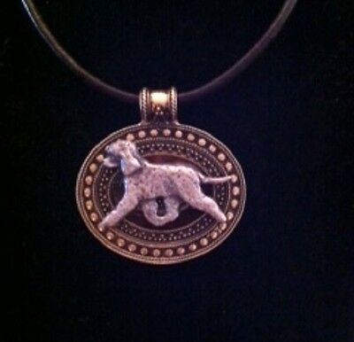 Irish Water Spaniel  Dog Brass Medallion on leather cord~necklace